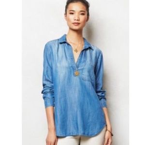 Anthropologie Cloth & Stone Chambray Popover Top S